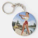 Vintage Retro Gil Elvgren Fishing Pinup Girl Key Chains