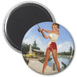 Vintage Retro Gil Elvgren Fishing Pinup Girl Magnet