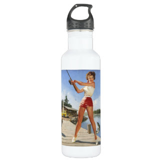 Vintage Retro Gil Elvgren Fishing Pinup Girl 24oz Water Bottle