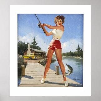 Vintage Retro Gil Elvgren Fishing Pinup Girl Poster