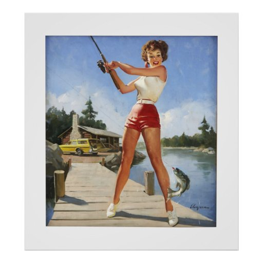Vintage Retro Gil Elvgren Fishing Pinup Girl Poster Zazzle