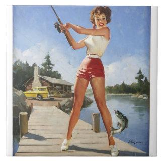 Vintage Retro Gil Elvgren Fishing Pinup Girl Ceramic Tile
