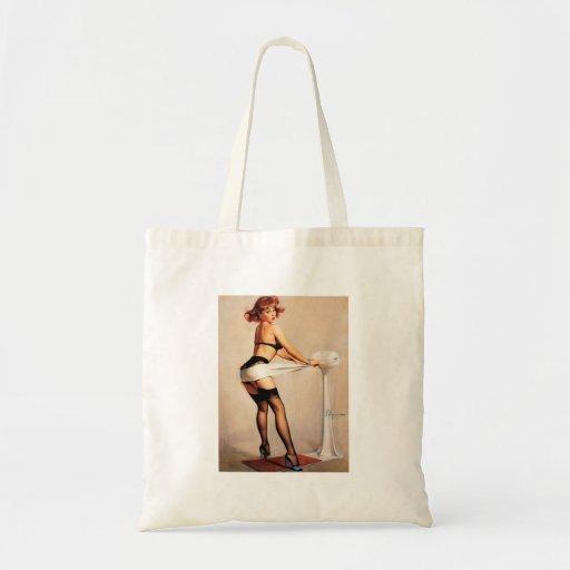 Vintage Retro Gil Elvgren Fitness Pinup Girl Tote Bag