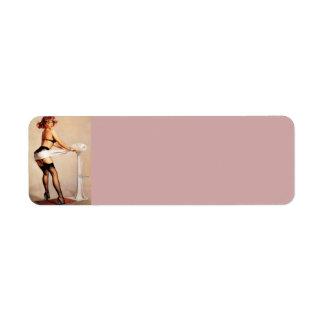 Vintage Retro Gil Elvgren Fitness Pinup Girl Label