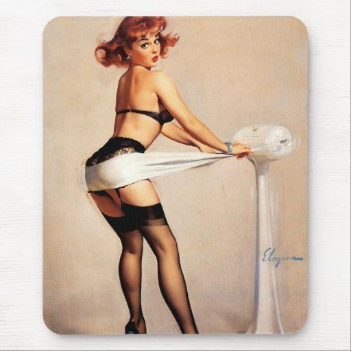 Vintage Retro Gil Elvgren Fitness Pinup Girl Mouse Pad