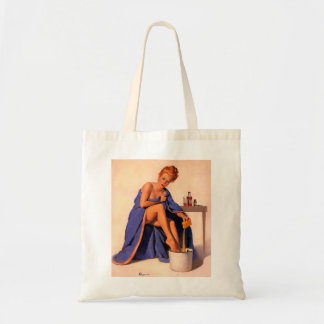 Vintage Retro Gil Elvgren Foot Spa Pin Up Girl Tote Bag