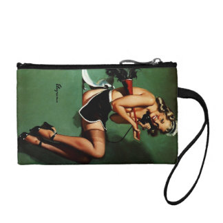 Vintage Retro Gil Elvgren French Maid Pinup Girl Coin Wallet