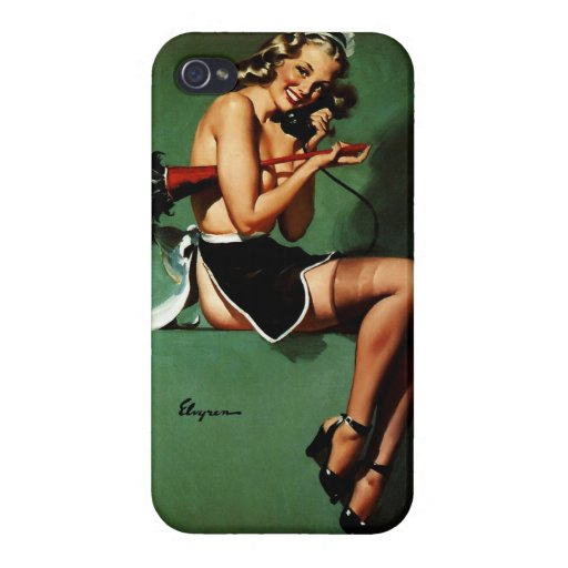 Vintage Retro Gil Elvgren French Maid Pinup Girl iPhone 4/4S Cases