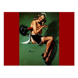 Vintage Retro Gil Elvgren French Maid Pinup Girl Postcard