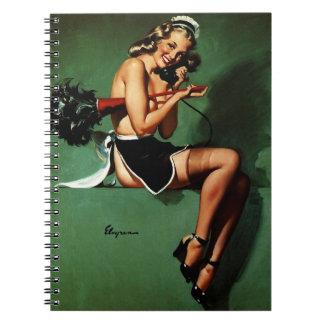 Vintage Retro Gil Elvgren French Maid Pinup Girl Spiral Notebook