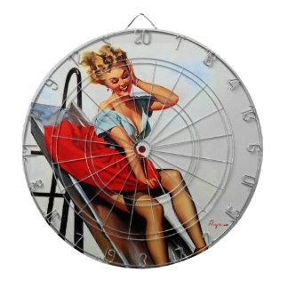 Vintage Retro Gil Elvgren Fun Slide Pin Up Girl Dartboard