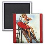Vintage Retro Gil Elvgren Fun Slide Pin Up Girl Magnet