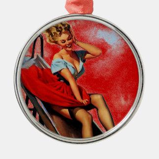 Vintage Retro Gil Elvgren Fun Slide Pin Up Girl Metal Ornament