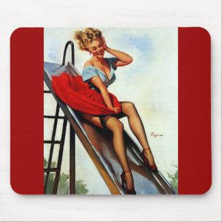 Vintage Retro Gil Elvgren Fun Slide Pin Up Girl Mouse Pad