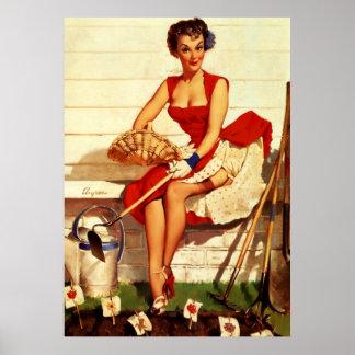 Vintage Retro Gil Elvgren Gardening Pin Up Girl Poster