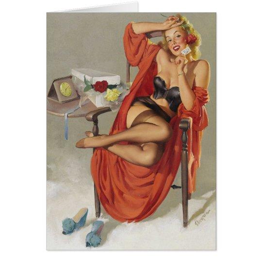 Vintage Retro Gil Elvgren Glamour Pin Up Girl Card