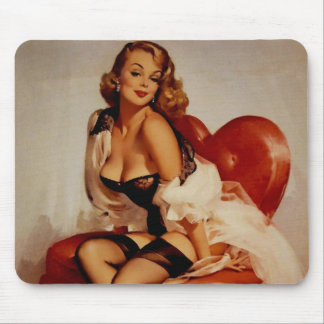 Vintage Retro Gil Elvgren Glamour Pose Pin Up Girl Mouse Pad