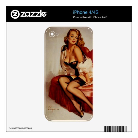 Vintage Retro Gil Elvgren Glamour Pose Pin Up Girl Skins For The iPhone 4