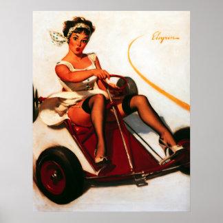 Vintage Retro Gil Elvgren Go Kart Pin Up Girl Print