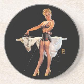Vintage Retro Gil Elvgren Ironing Pinup Girl Coaster