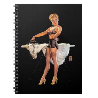 Vintage Retro Gil Elvgren Ironing Pinup Girl Spiral Note Book
