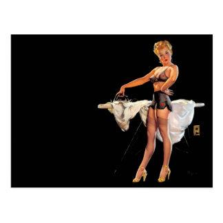 Vintage Retro Gil Elvgren Ironing Pinup Girl Postcard