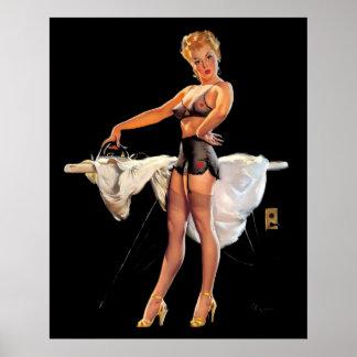Vintage Retro Gil Elvgren Ironing Pinup Girl Poster