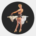 Vintage Retro Gil Elvgren Ironing Pinup Girl Round Sticker