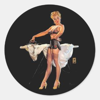 Vintage Retro Gil Elvgren Ironing Pinup Girl Classic Round Sticker