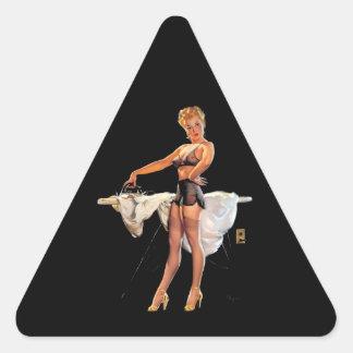Vintage Retro Gil Elvgren Ironing Pinup Girl Triangle Sticker