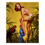 Vintage Retro Gil Elvgren Jungle Pin Up Girl Print