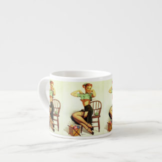 Vintage retro Gil Elvgren Knitting Pin Up Girl Espresso Cup