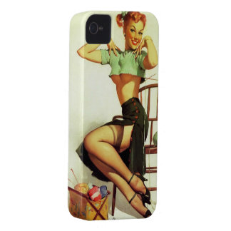 Vintage retro Gil Elvgren Knitting Pin Up Girl iPhone 4 Covers