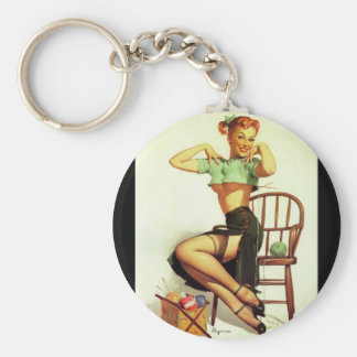 Vintage retro Gil Elvgren Knitting Pin Up Girl Keychain