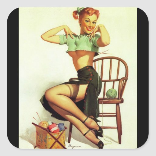 Vintage retro Gil Elvgren Knitting Pin Up Girl Square Sticker