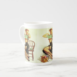 Vintage retro Gil Elvgren Knitting Pin Up Girl Tea Cup