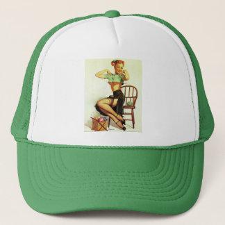 Vintage retro Gil Elvgren Knitting Pin Up Girl Trucker Hat