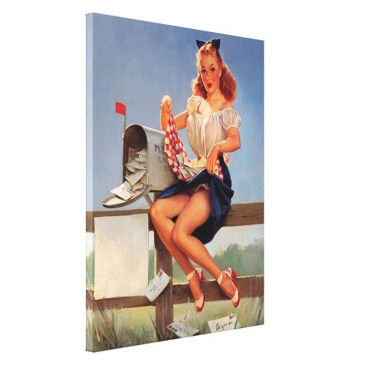 Vintage Retro Gil Elvgren Mail Box Pinup Girl Canvas Prints