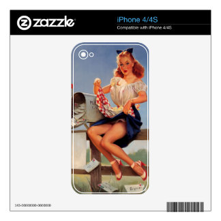 Vintage Retro Gil Elvgren Mail Box Pinup Girl Decals For The iPhone 4