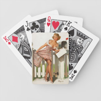 Vintage Retro Gil Elvgren Mail Box Pinup Girl Bicycle Playing Cards