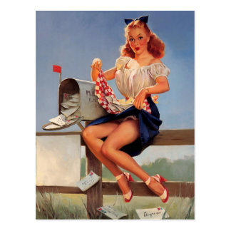 Vintage Retro Gil Elvgren Mail Box Pinup Girl Postcard