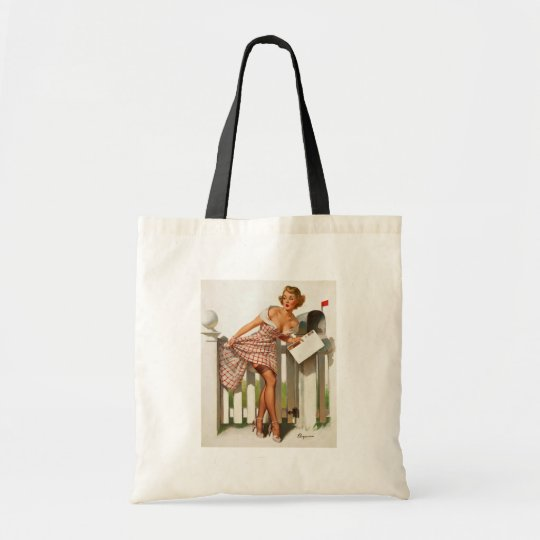 Vintage Retro Gil Elvgren Mail Box Pinup Girl Tote Bag