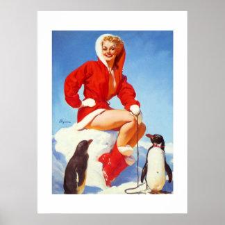 Vintage Retro Gil Elvgren North Pole Pinup Girl Poster