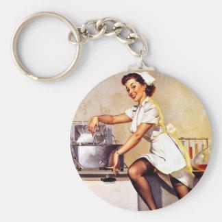 Vintage Retro Gil Elvgren Nurse Pin Up Girl Basic Round Button Keychain