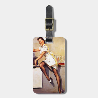 Vintage Retro Gil Elvgren Nurse Pin Up Girl Luggage Tag