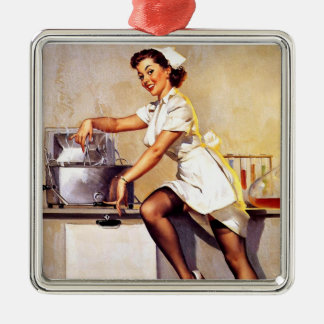 Vintage Retro Gil Elvgren Nurse Pin Up Girl Metal Ornament