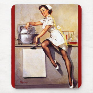 Vintage Retro Gil Elvgren Nurse Pin Up Girl Mouse Pad