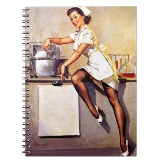 Vintage Retro Gil Elvgren Nurse Pin Up Girl Spiral Notebooks