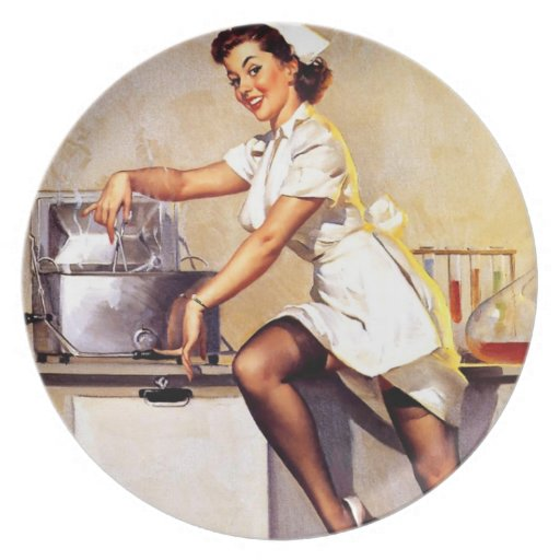 Vintage Retro Gil Elvgren Nurse Pin Up Girl Plates