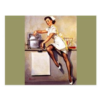 Vintage Retro Gil Elvgren Nurse Pin Up Girl Post Card